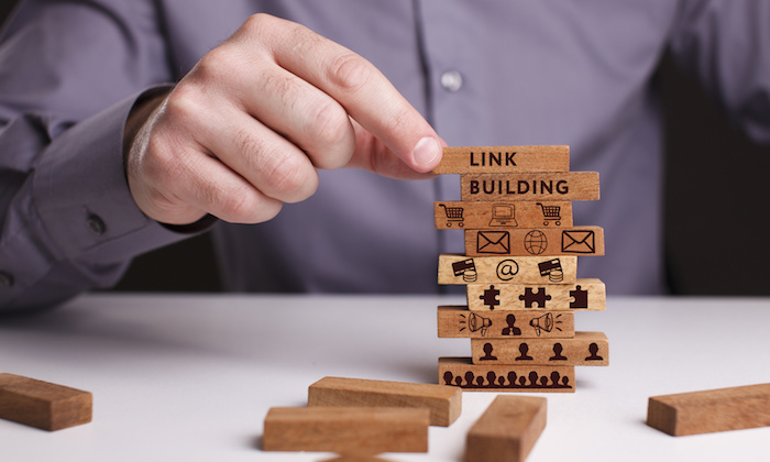 The concept of technology, the Internet and the network. Businessman shows a working model of business: Link building