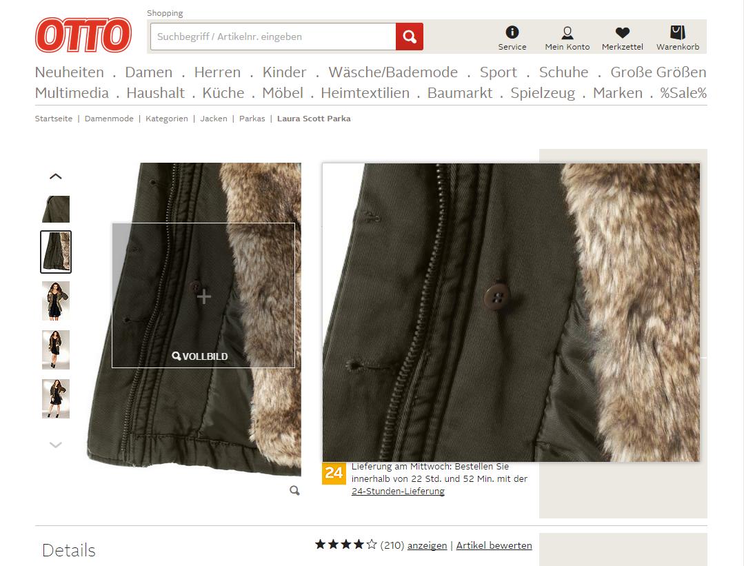 Otto.de: фото мелких деталей товара с увеличением