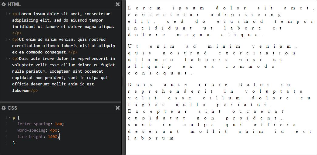 Свойство CSS «letter-spacing» в Photoshop и браузерах